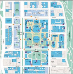 Multi colored map of Gender Neutral Restrooms campus-wide