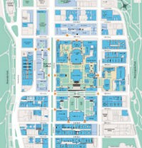 Multi colored map of Morningside Heights Campus